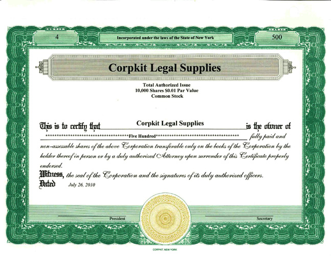 Stock Certificates Standard Wording Stock Certificates Corpkit