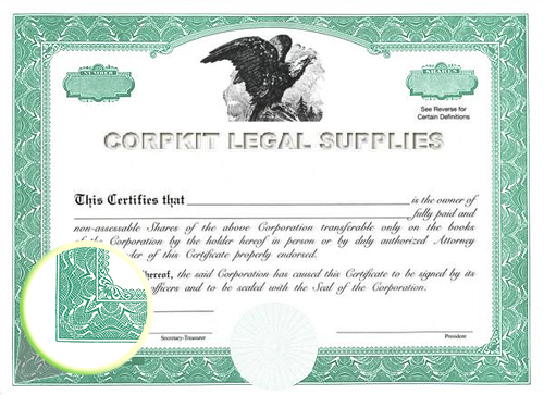 green eagle_C blank stock certificate