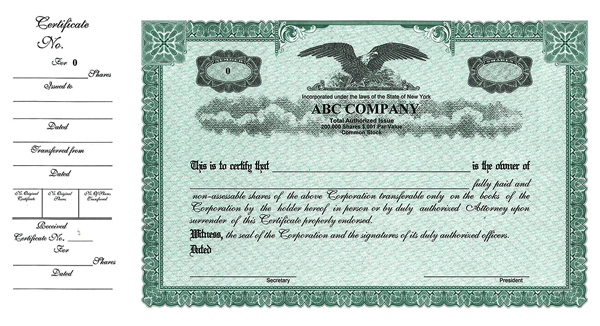 Stock certificates custom stock certificates custom for Corporate bond certificate template
