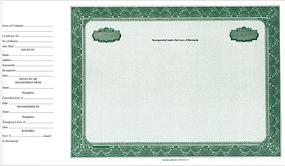 Side Stub Certificate  Blank Share Certificates