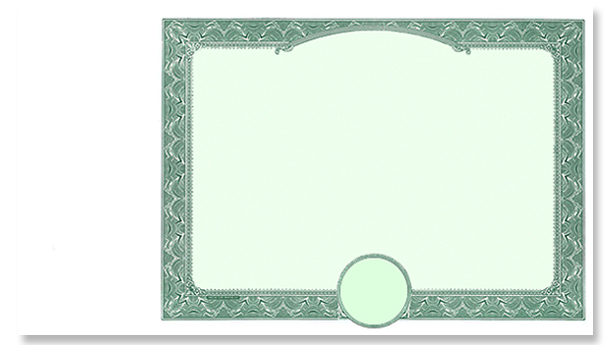 Blank Border Only Side Stub Certificate