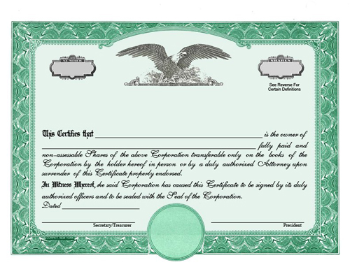 Custom stock certificates for Corporate bond certificate template