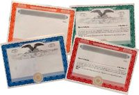 Border Only Blank Stock Certificates