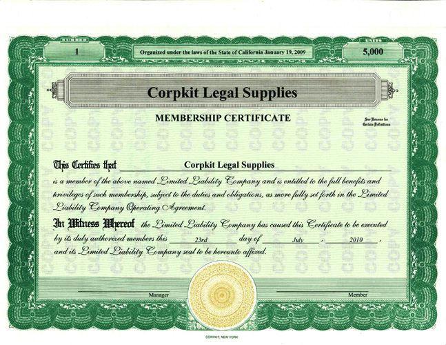 Stock certificates for Llc membership certificates