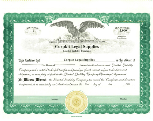 Personalize Limited Liability Certificates :: Print Investor's ...