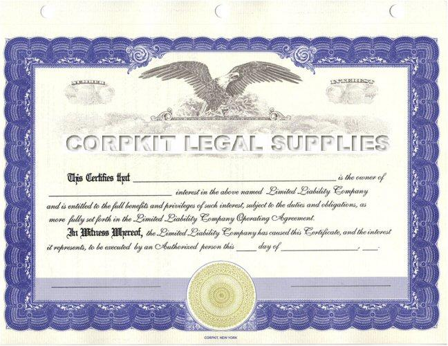 Blue Stock Certificate Red Eagle Certificate  Printable Stock Certificates